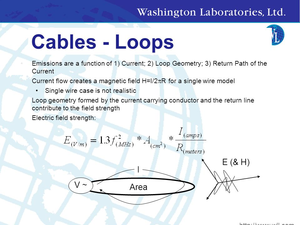 Cables - Loops Emissions are a function of 1) Current; 2) Loop Geometry; 3) Return Path of the Current Current flow creates a magnetic field H=I/2  R for a single wire model Single wire case is not realistic Loop geometry formed by the current carrying conductor and the return line contribute to the field strength Electric field strength: V ~ I Area E (& H) http://www.wll.com