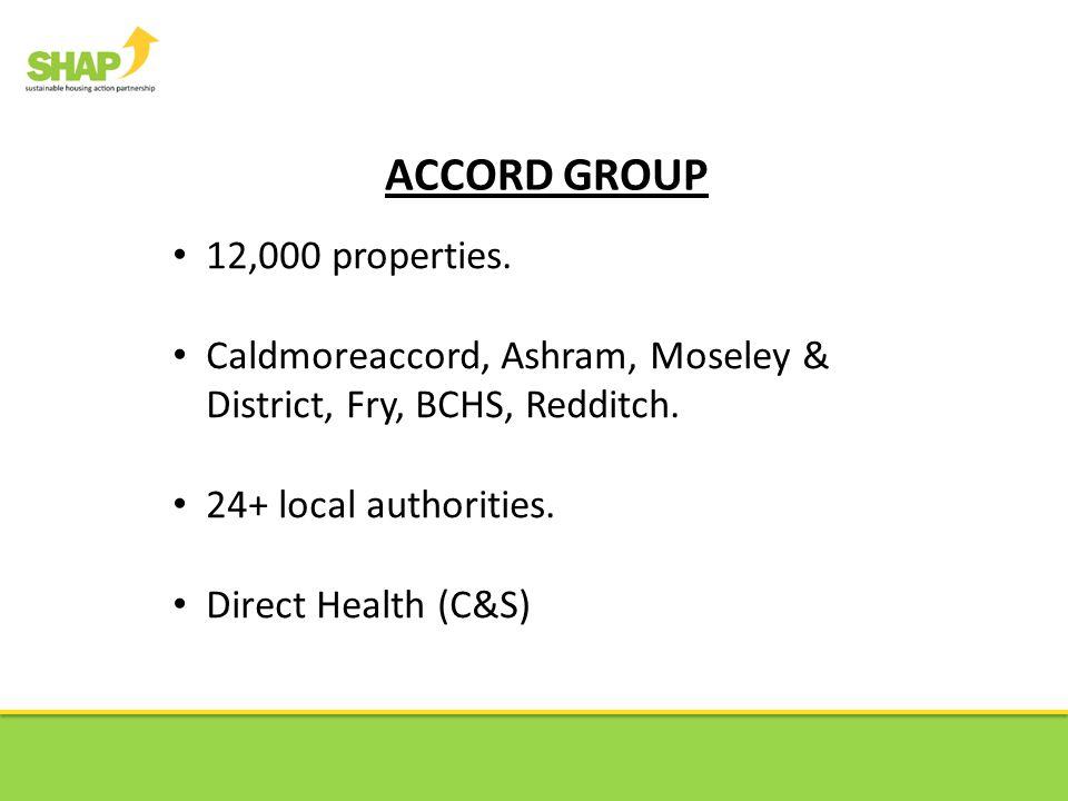 ACCORD GROUP 12,000 properties.Caldmoreaccord, Ashram, Moseley & District, Fry, BCHS, Redditch.