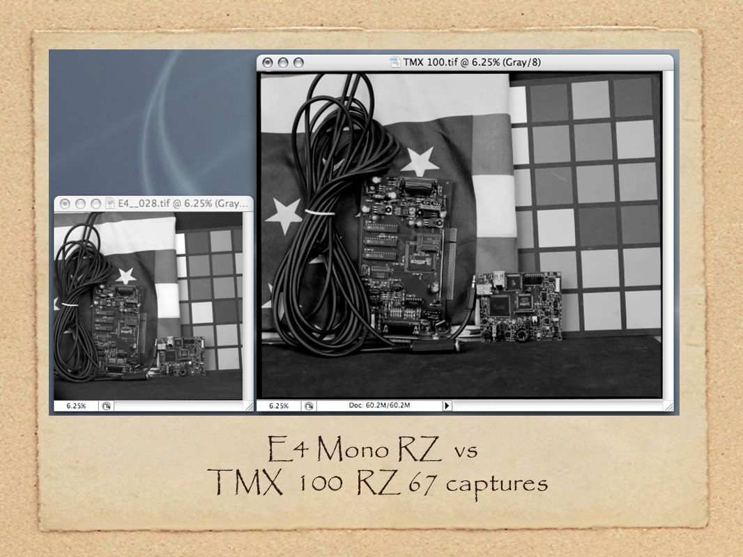 E4 Mono RZ vs TMX 100 RZ 67 captures