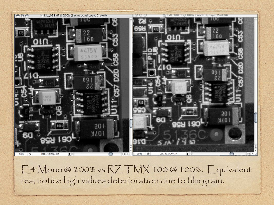 E4 Mono @ 200% vs RZ TMX 100 @ 100%.
