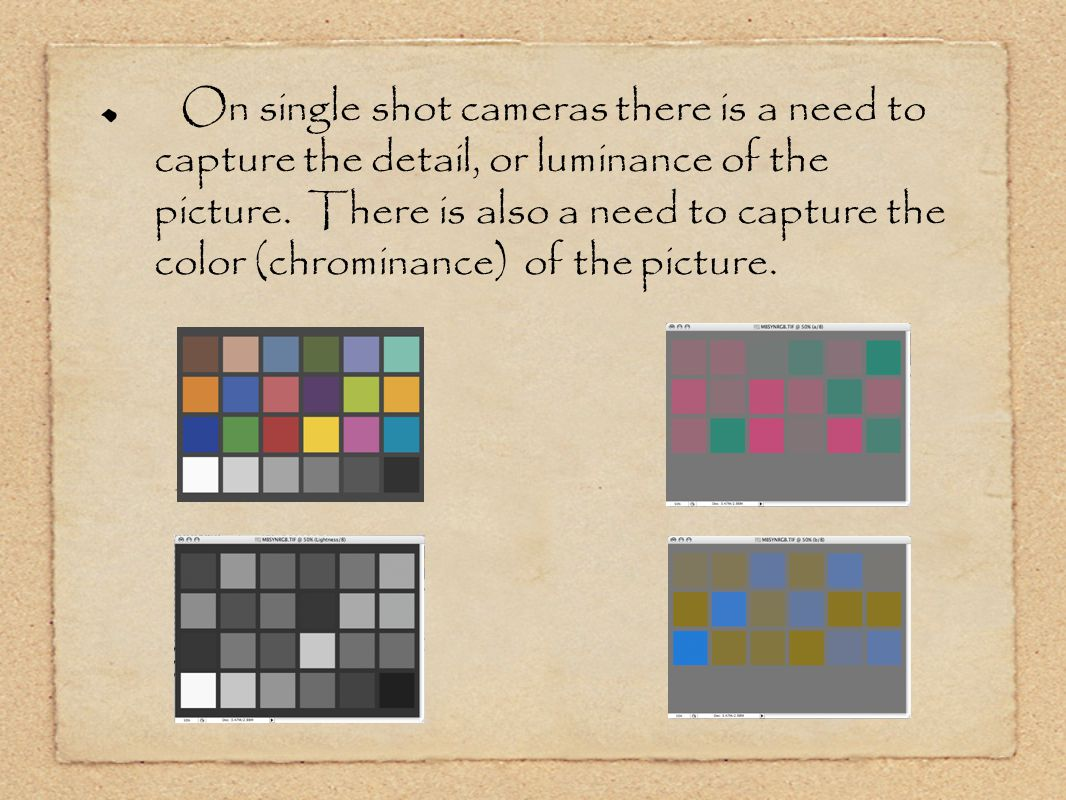 On single shot cameras there is a need to capture the detail, or luminance of the picture.