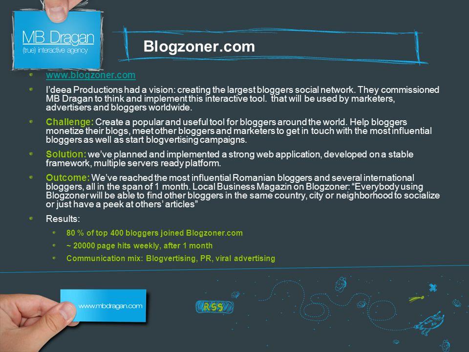 Blogzoner.com www.blogzoner.com I'deea Productions had a vision: creating the largest bloggers social network.