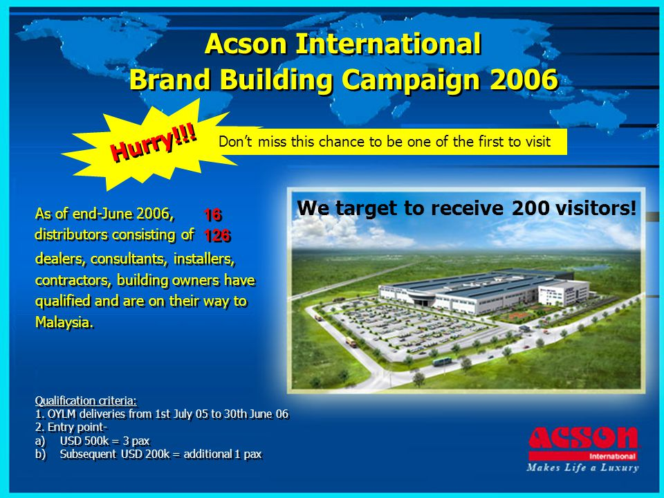 Visit our state of the Art Attend New Product launch Attend technical seminar - New factory in Sungai Buloh, Malaysia - Keep ahead of your competition - Keep abreast of new technology Acson International Brand Building Campaign 2006 Acson International Brand Building Campaign 2006