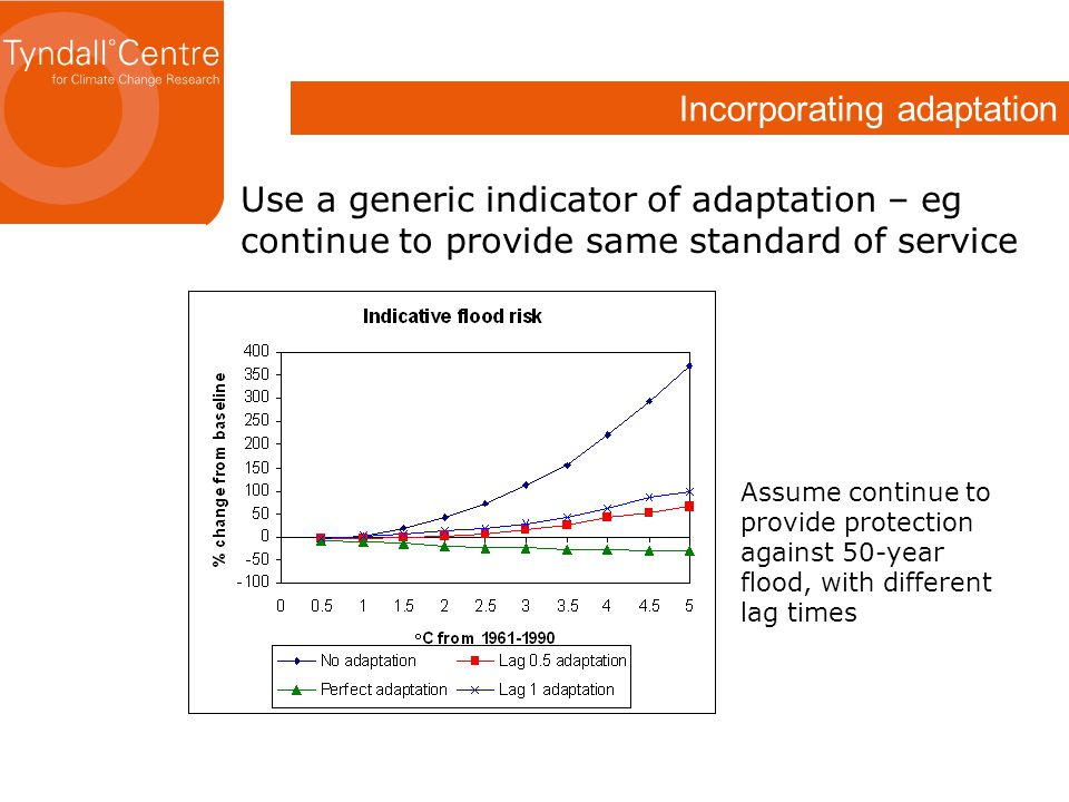 Incorporating adaptation Use a generic indicator of adaptation – eg continue to provide same standard of service Assume continue to provide protection against 50-year flood, with different lag times