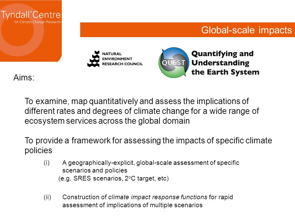 Global-scale impacts Aims: To examine, map quantitatively and assess the implications of different rates and degrees of climate change for a wide range of ecosystem services across the global domain To provide a framework for assessing the impacts of specific climate policies (i)A geographically-explicit, global-scale assessment of specific scenarios and policies (e.g.