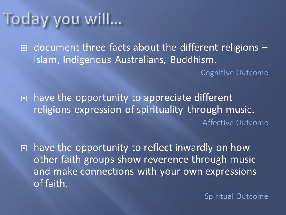  document three facts about the different religions – Islam, Indigenous Australians, Buddhism. Cognitive Outcome  have the opportunity to appreciate