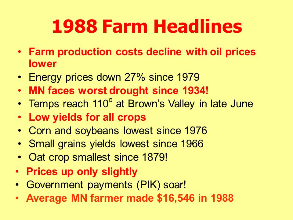 1988 Farm Headlines Prices up only slightly Government payments (PIK) soar! Average MN farmer made $16,546 in 1988 Farm production costs decline with