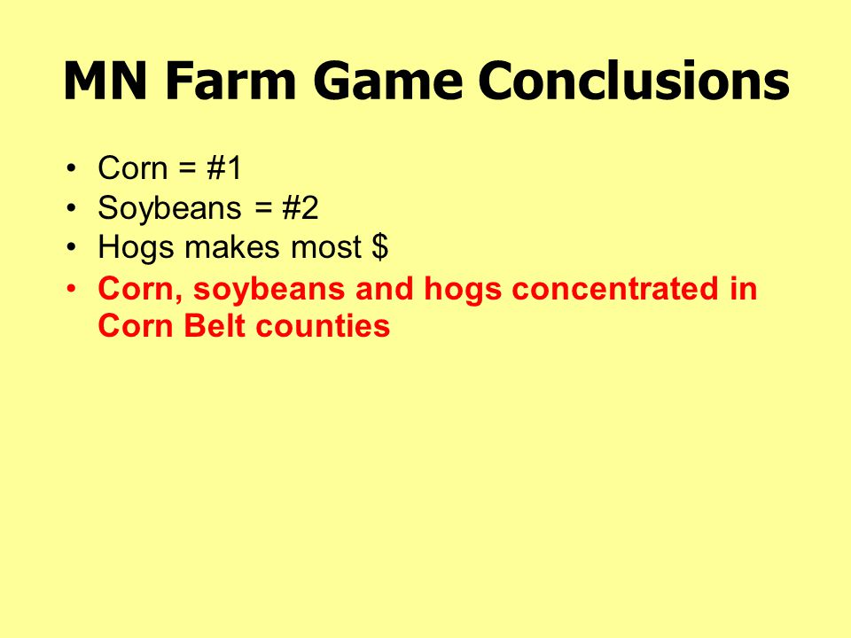 MN Farm Game Conclusions Corn, soybeans and hogs concentrated in Corn Belt counties Corn = #1 Soybeans = #2 Hogs makes most $