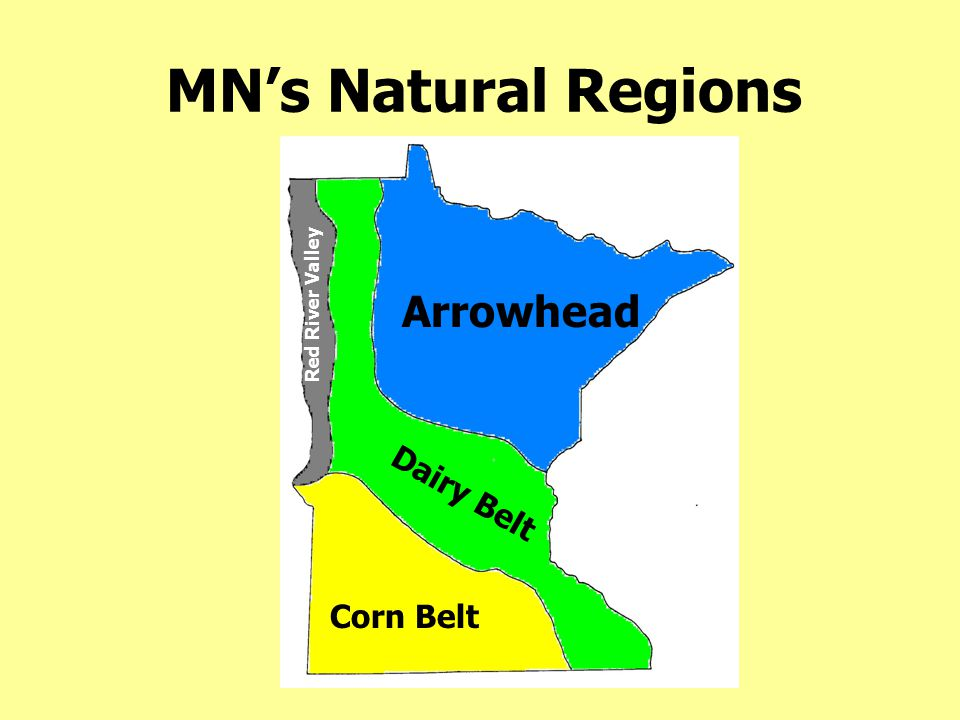 MN's Natural Regions Arrowhead Dairy Belt Corn Belt Red River Valley