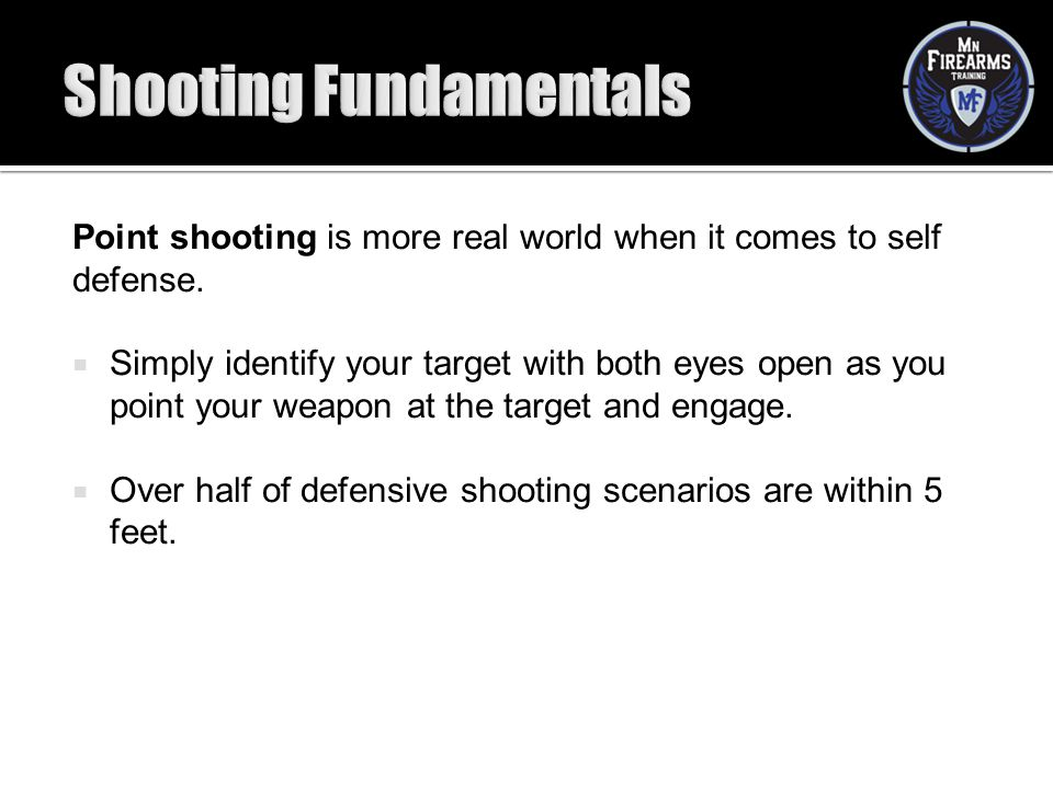 Point shooting is more real world when it comes to self defense.  Simply identify your target with both eyes open as you point your weapon at the tar