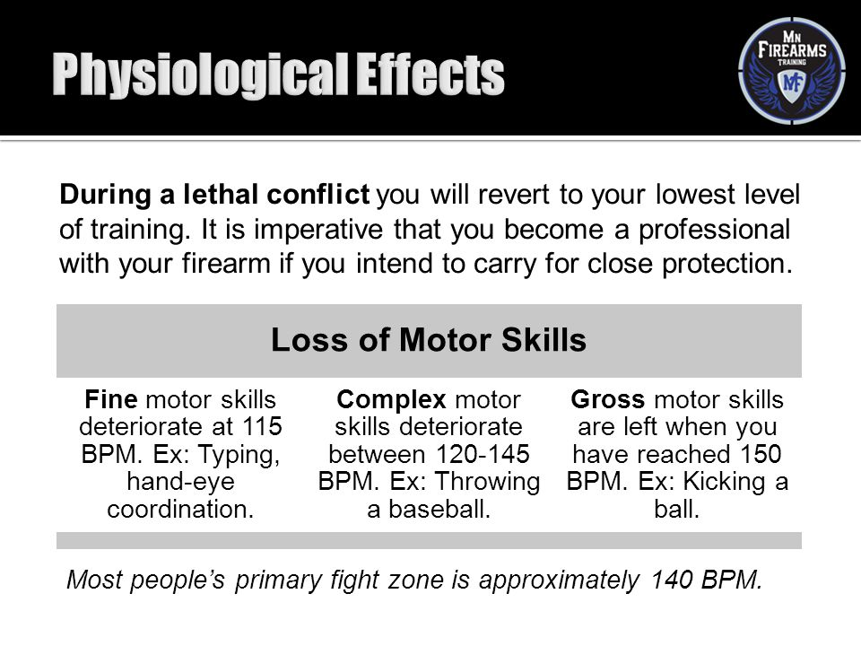 During a lethal conflict you will revert to your lowest level of training. It is imperative that you become a professional with your firearm if you in