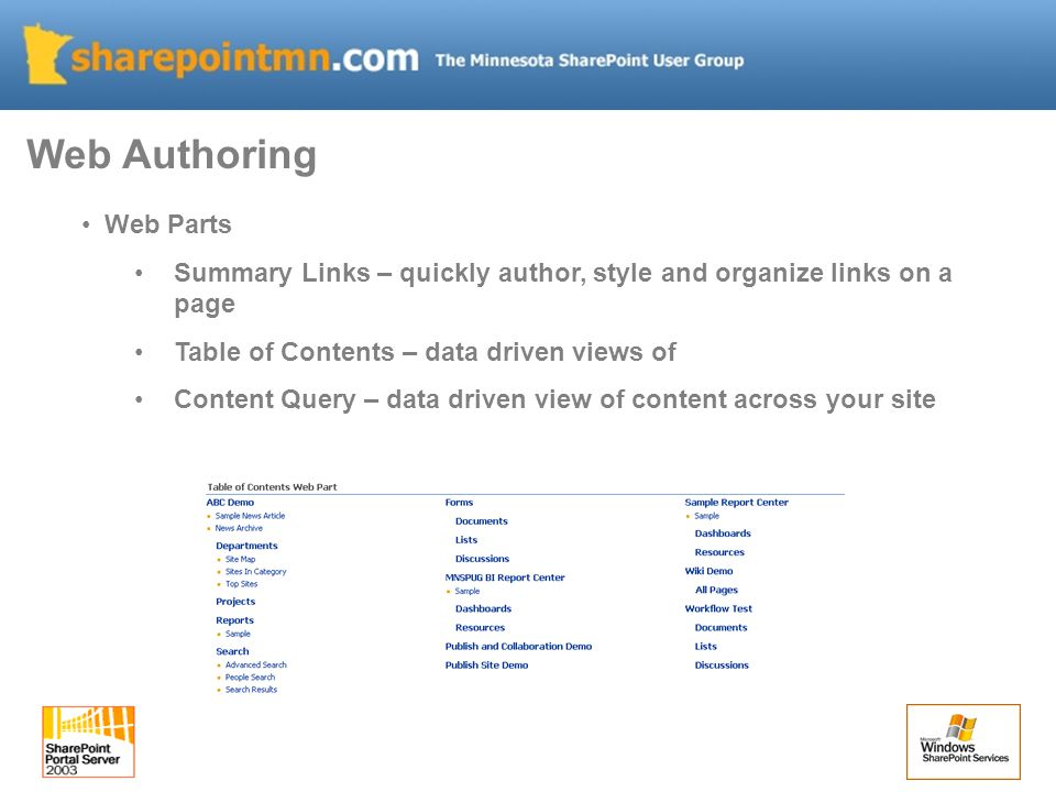 Web Authoring Web Parts Summary Links – quickly author, style and organize links on a page Table of Contents – data driven views of Content Query – data driven view of content across your site