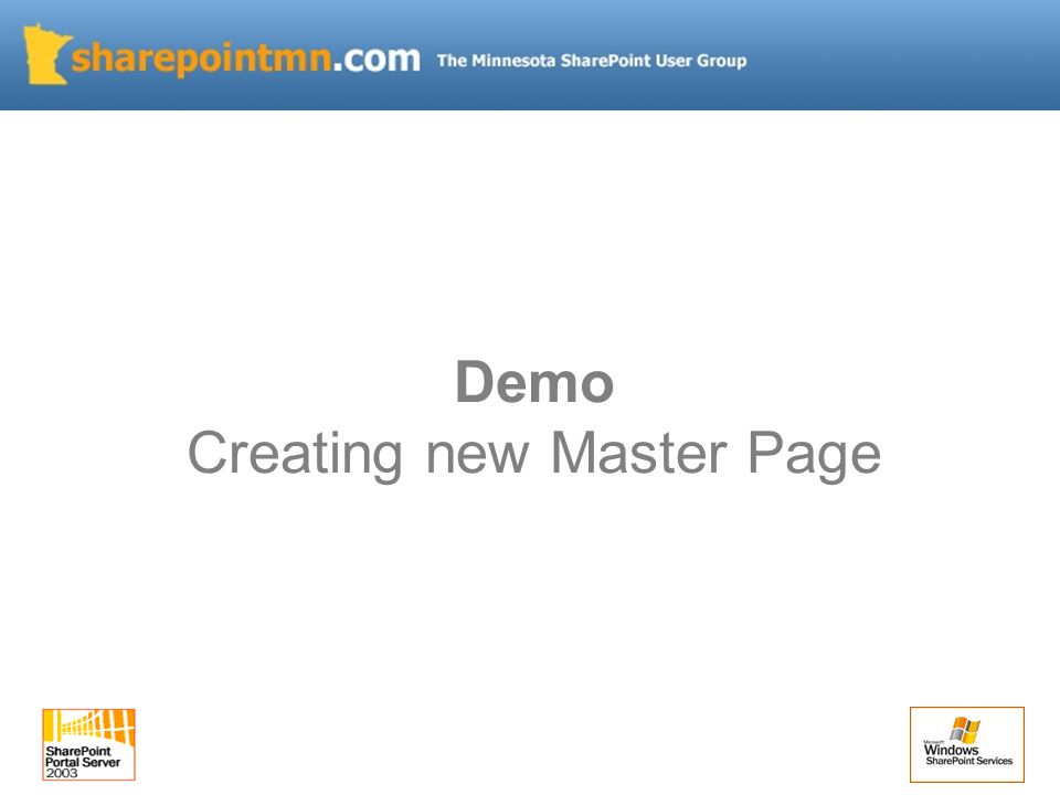 Demo Creating new Master Page