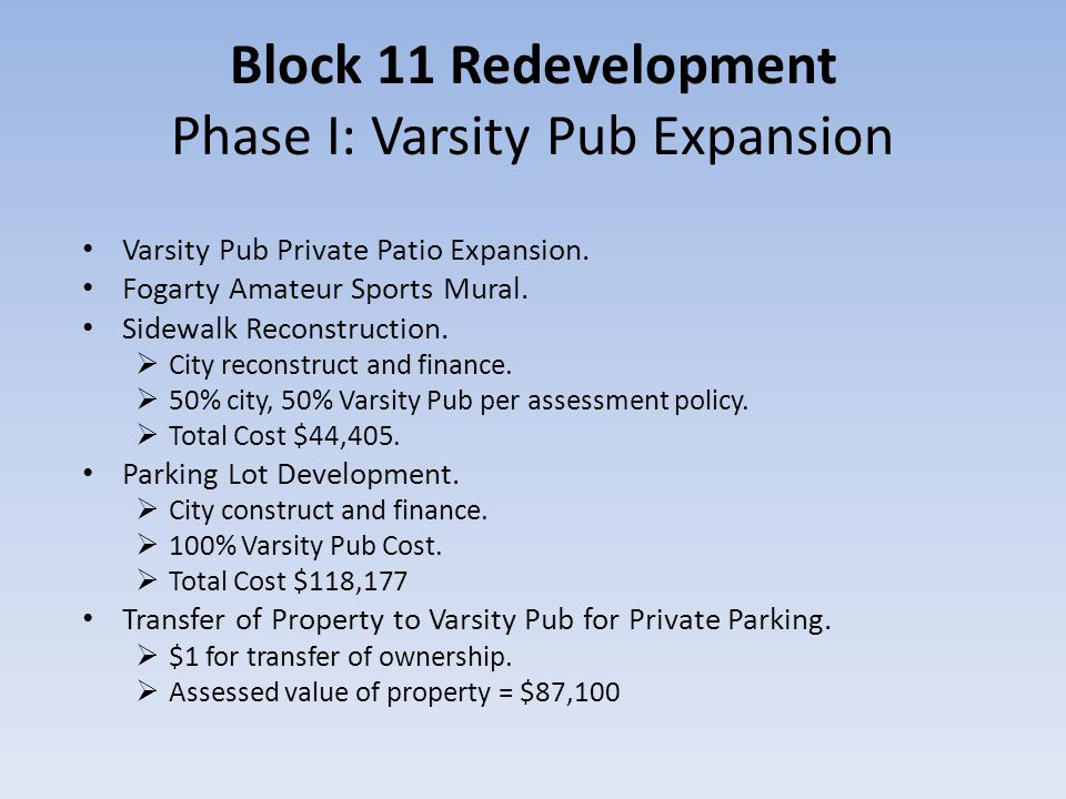 Block 11 Redevelopment Phase I: Varsity Pub Expansion Varsity Pub Private Patio Expansion.
