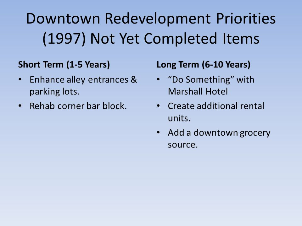 Downtown Redevelopment Priorities (1997) Not Yet Completed Items Short Term (1-5 Years) Enhance alley entrances & parking lots.
