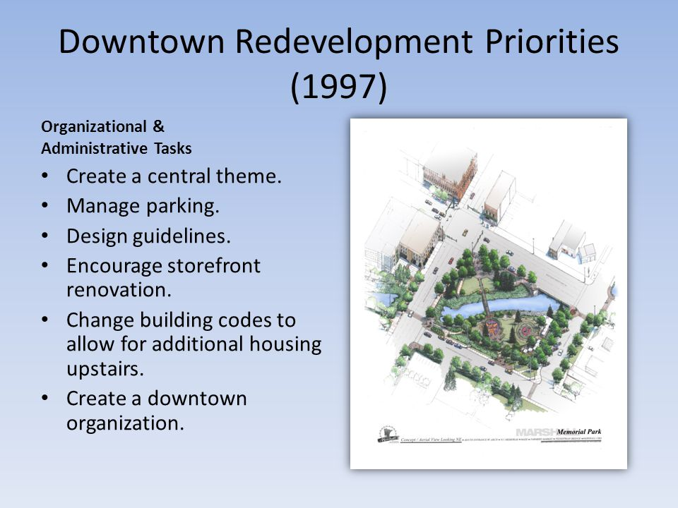 Downtown Redevelopment Priorities (1997) Organizational & Administrative Tasks Create a central theme.
