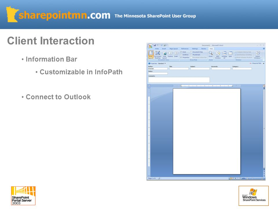 Information Bar Customizable in InfoPath Connect to Outlook Client Interaction
