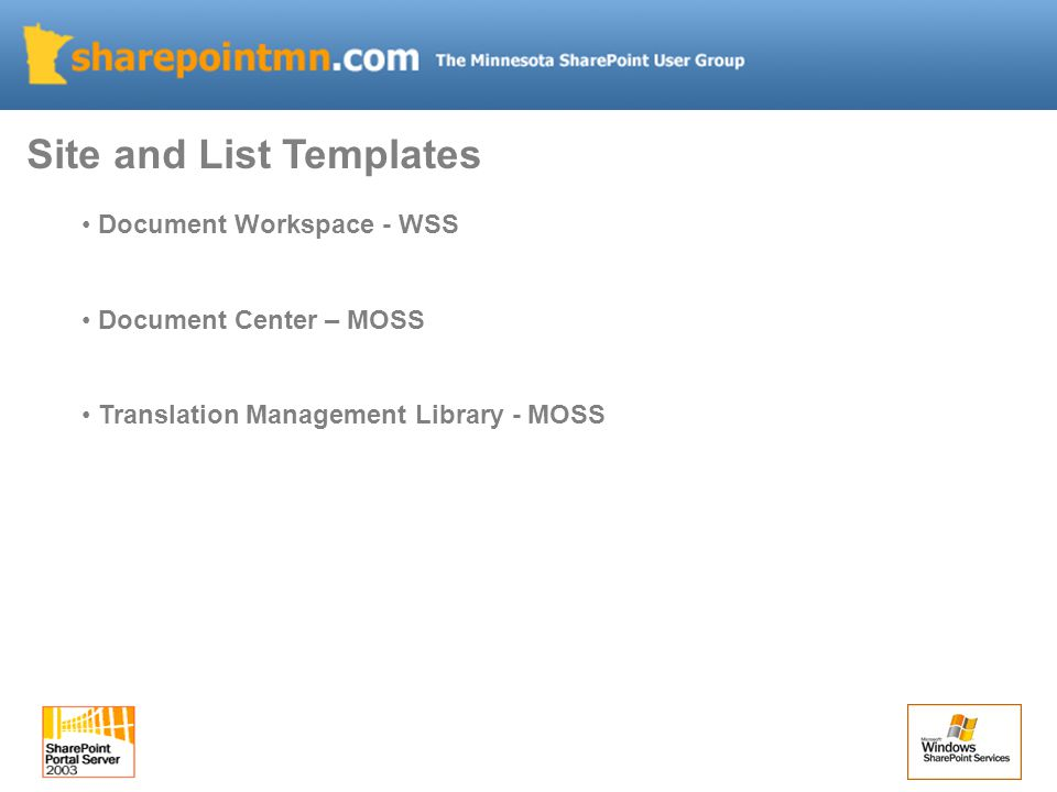 Document Workspace - WSS Document Center – MOSS Translation Management Library - MOSS Site and List Templates