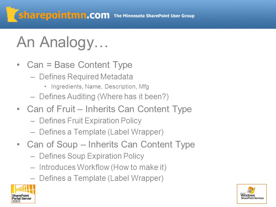 An Analogy… Can = Base Content Type –Defines Required Metadata Ingredients, Name, Description, Mfg –Defines Auditing (Where has it been ) Can of Fruit – Inherits Can Content Type –Defines Fruit Expiration Policy –Defines a Template (Label Wrapper) Can of Soup – Inherits Can Content Type –Defines Soup Expiration Policy –Introduces Workflow (How to make it) –Defines a Template (Label Wrapper)