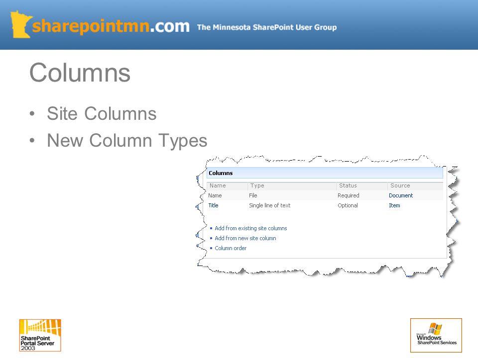Columns Site Columns New Column Types
