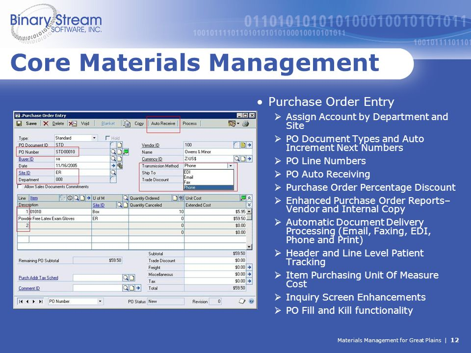 Materials Management for Great Plains | 12 Core Materials Management Purchase Order Entry  Assign Account by Department and Site  PO Document Types
