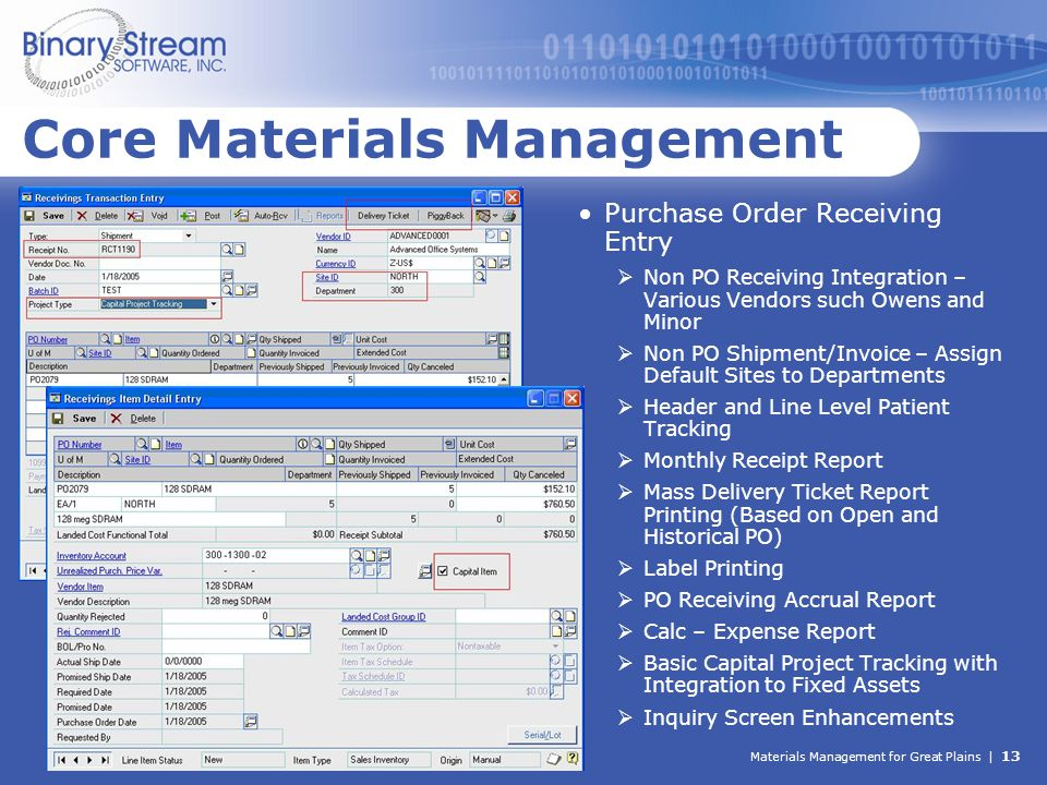 Materials Management for Great Plains | 13 Core Materials Management Purchase Order Receiving Entry  Non PO Receiving Integration – Various Vendors s