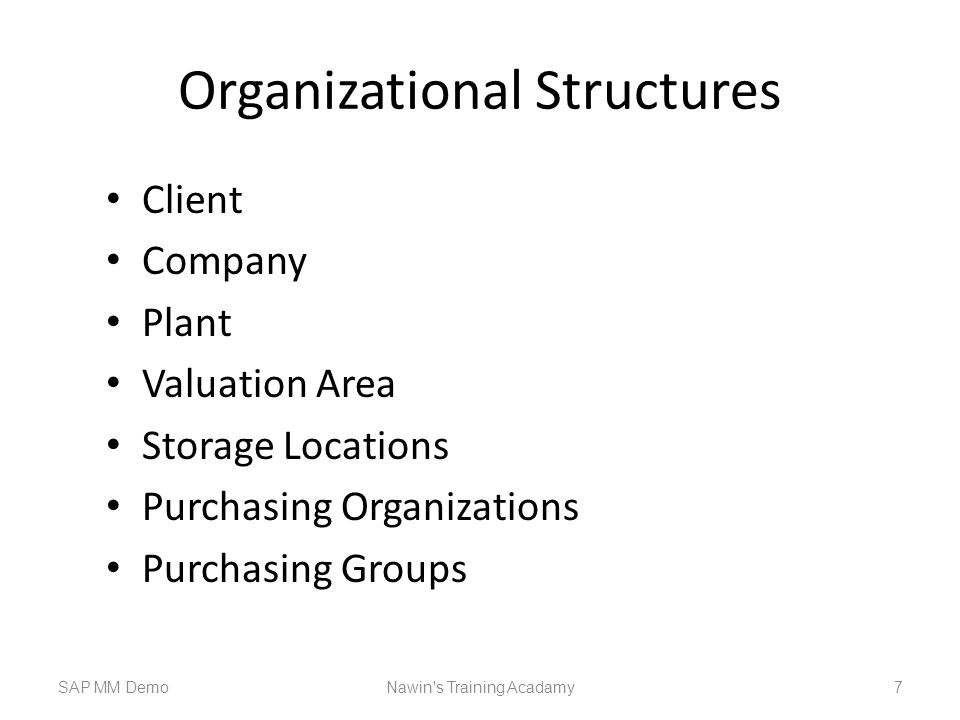 Organizational Structures Client Company Plant Valuation Area Storage Locations Purchasing Organizations Purchasing Groups SAP MM DemoNawin s Training Acadamy 7