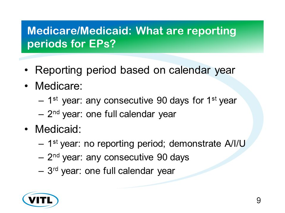 Medicare/Medicaid: What are reporting periods for EPs.