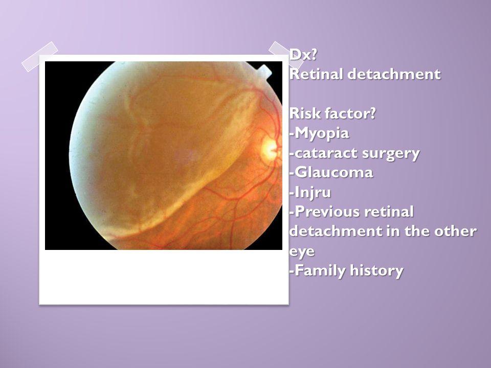 Dx? Retinal detachment Risk factor? -Myopia -cataract surgery -Glaucoma -Injru -Previous retinal detachment in the other eye -Family history Dx? Retin