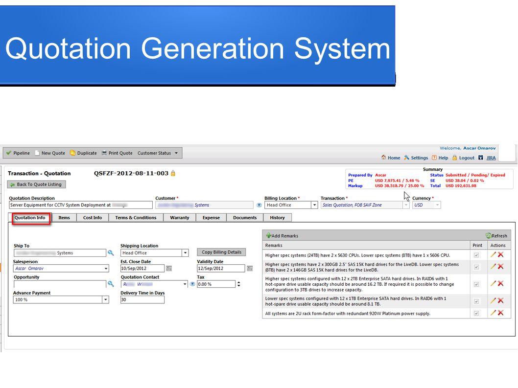 Quotation Generation System