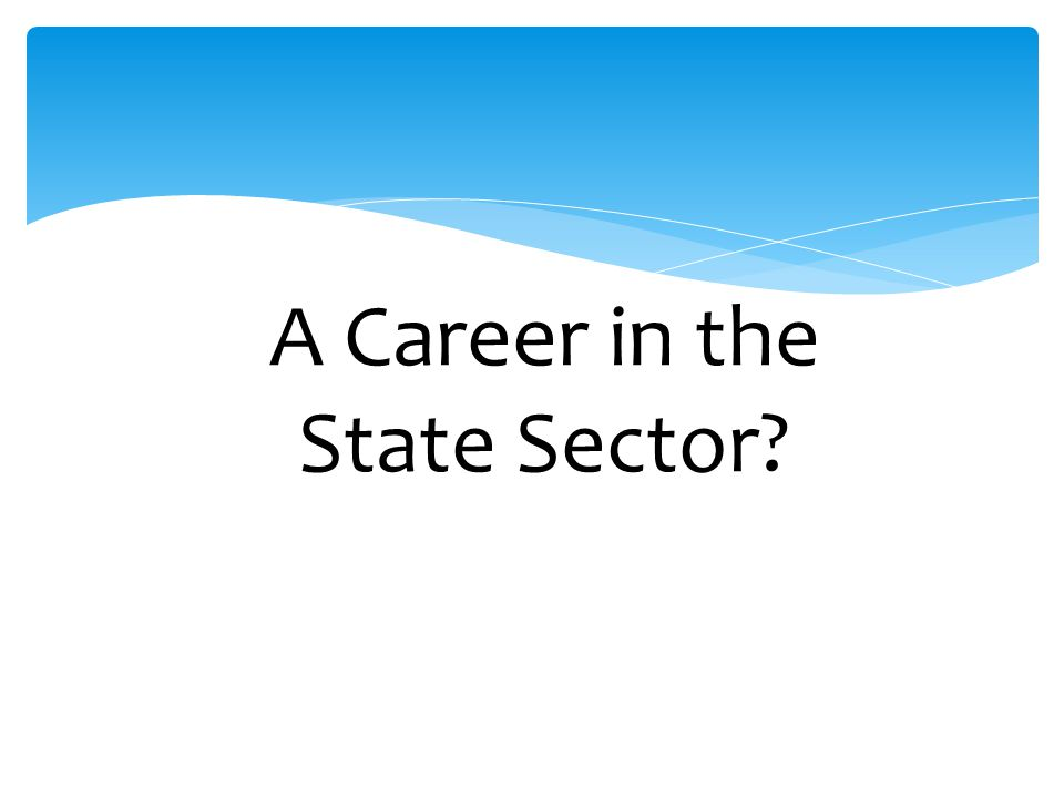 A Career in the State Sector