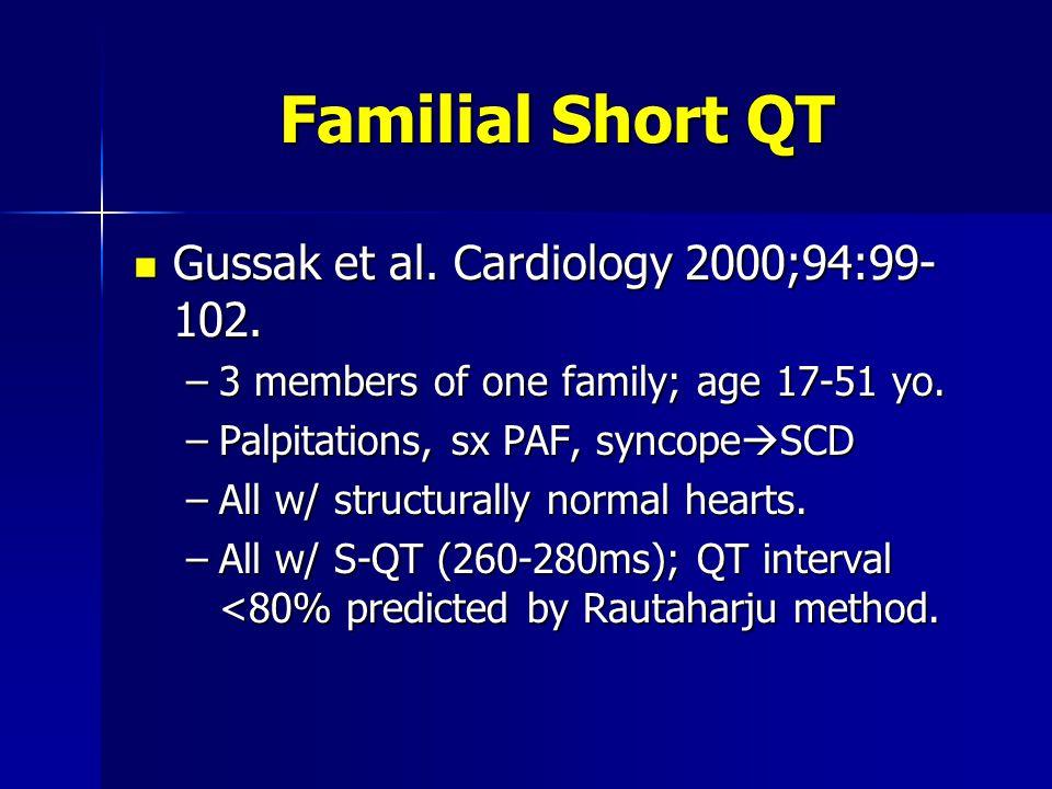 Familial Short QT Gussak et al.Cardiology 2000;94:99- 102.