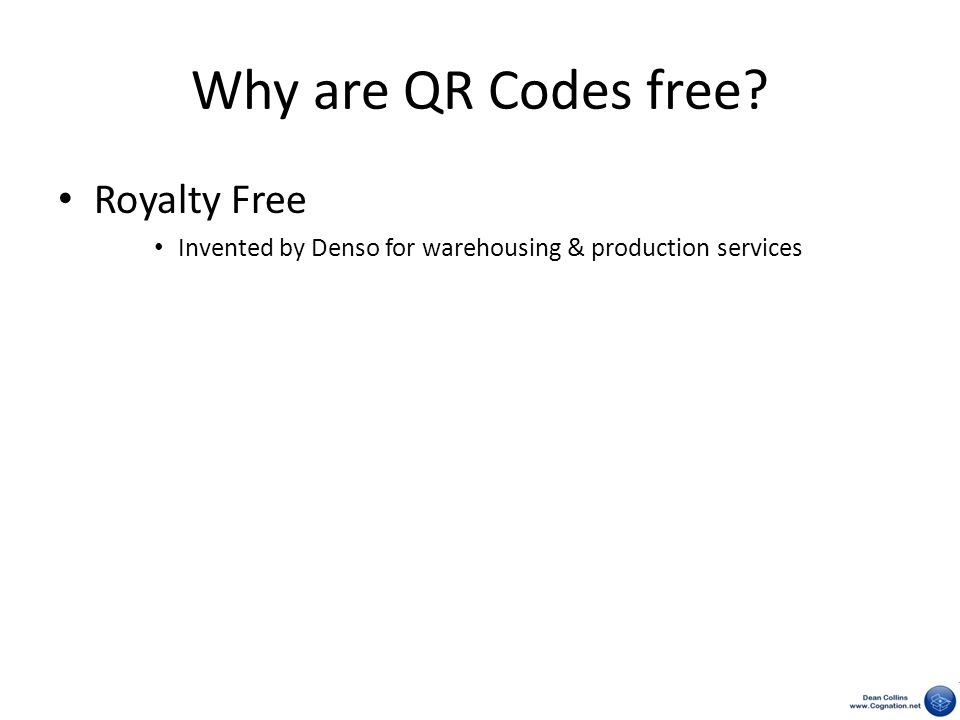 Why are QR Codes free? Royalty Free Invented by Denso for warehousing & production services