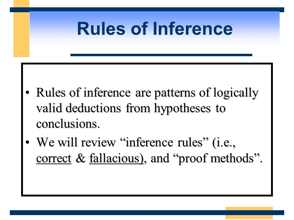 Rules of Inference Rules of inference are patterns of logically valid deductions from hypotheses to conclusions.Rules of inference are patterns of logically valid deductions from hypotheses to conclusions.