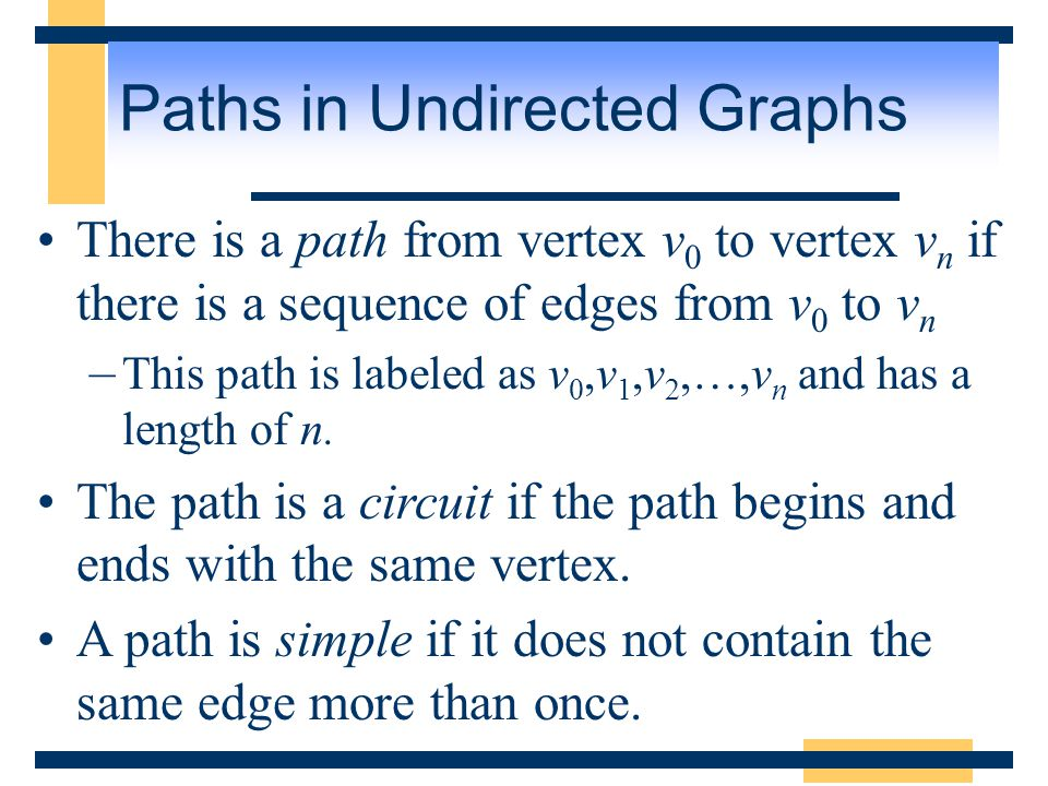 Paths in Undirected Graphs A path or circuit is said to pass through the vertices v 0, v 1, v 2, …, v n or traverse the edges e 1, e 2, …, e n.