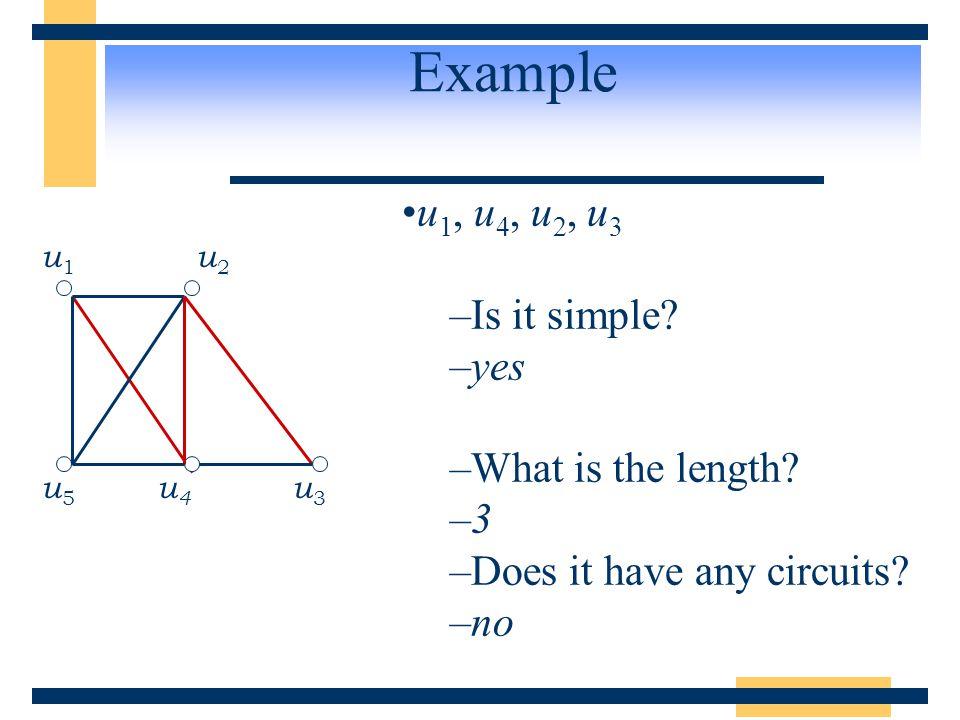 Example u 1, u 4, u 2, u 3 –Is it simple? –yes –What is the length? –3 –Does it have any circuits? –no u 1 u 2 u 5 u 4 u 3