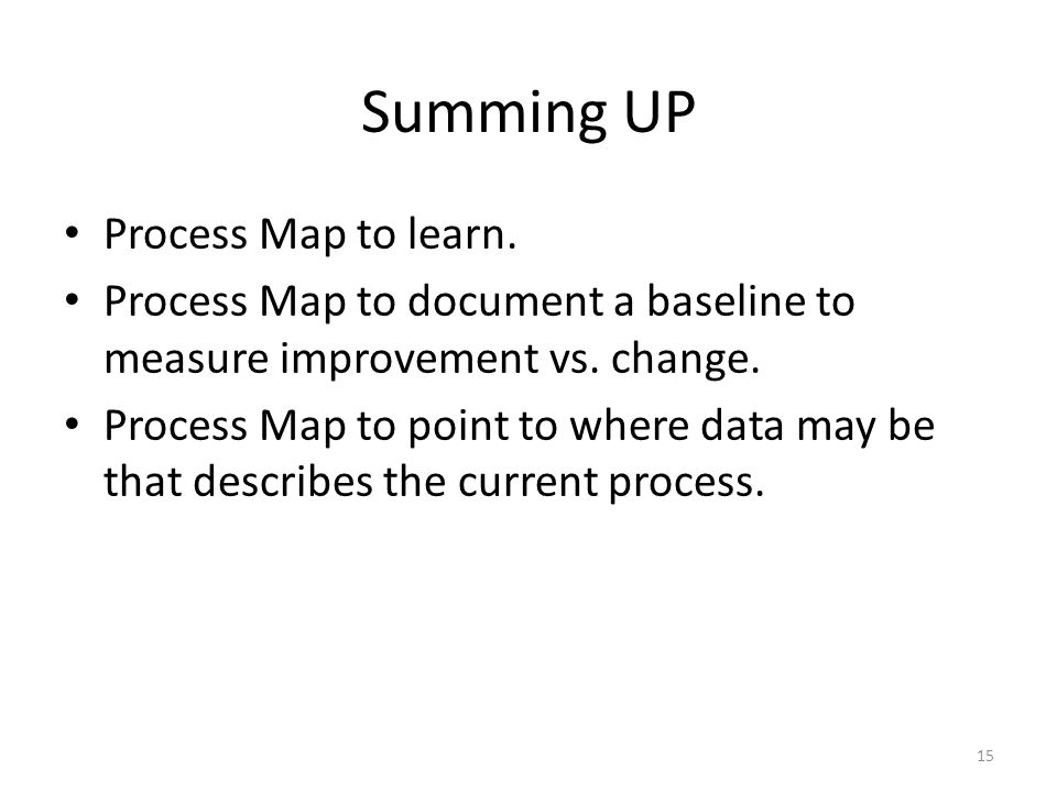Summing UP Process Map to learn. Process Map to document a baseline to measure improvement vs. change. Process Map to point to where data may be that