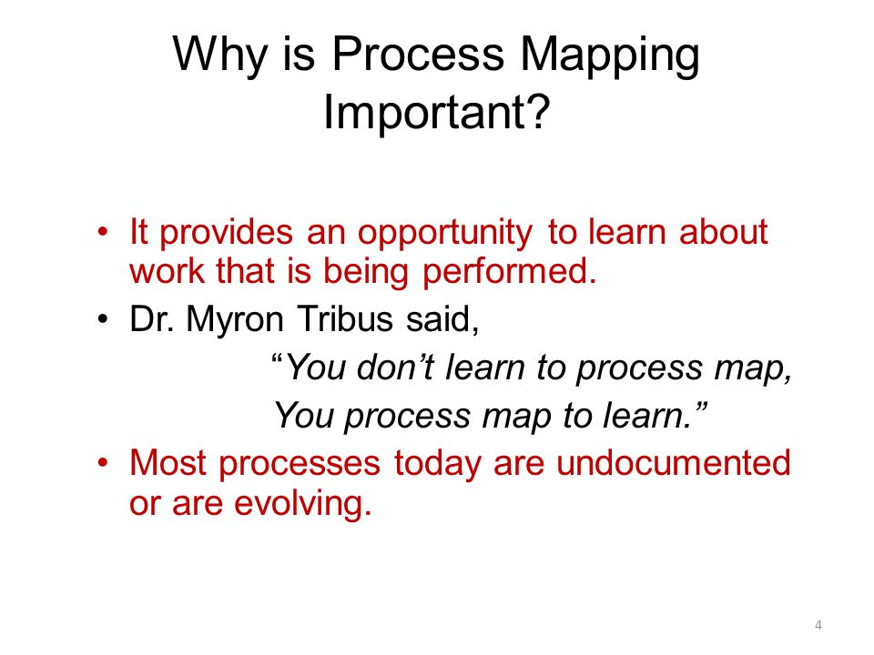 """It provides an opportunity to learn about work that is being performed. Dr. Myron Tribus said, """"You don't learn to process map, You process map to lea"""
