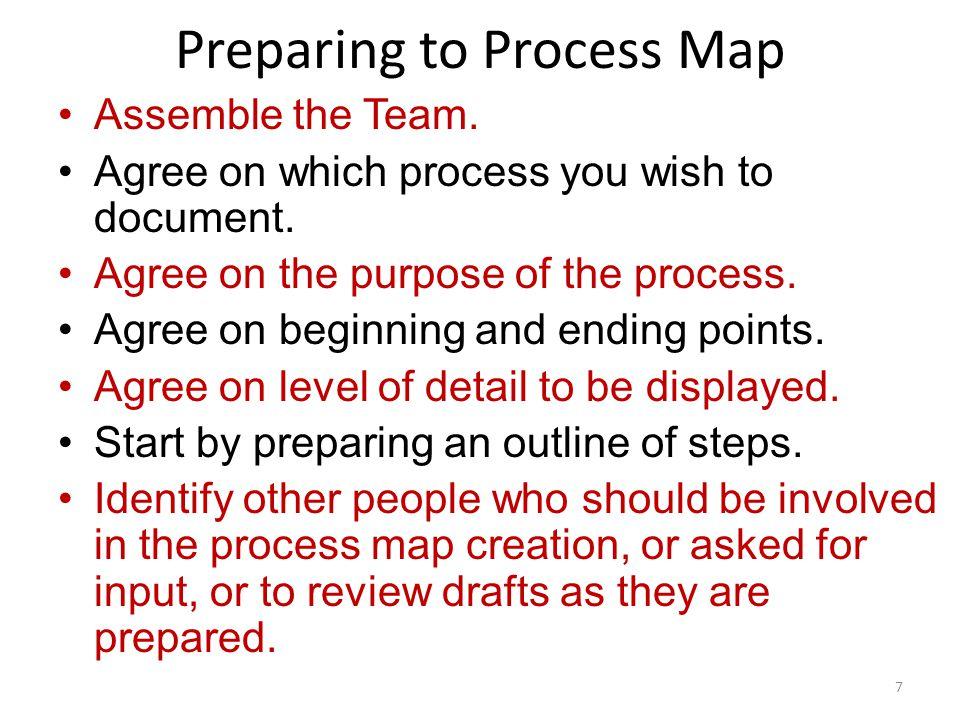 Assemble the Team. Agree on which process you wish to document. Agree on the purpose of the process. Agree on beginning and ending points. Agree on le