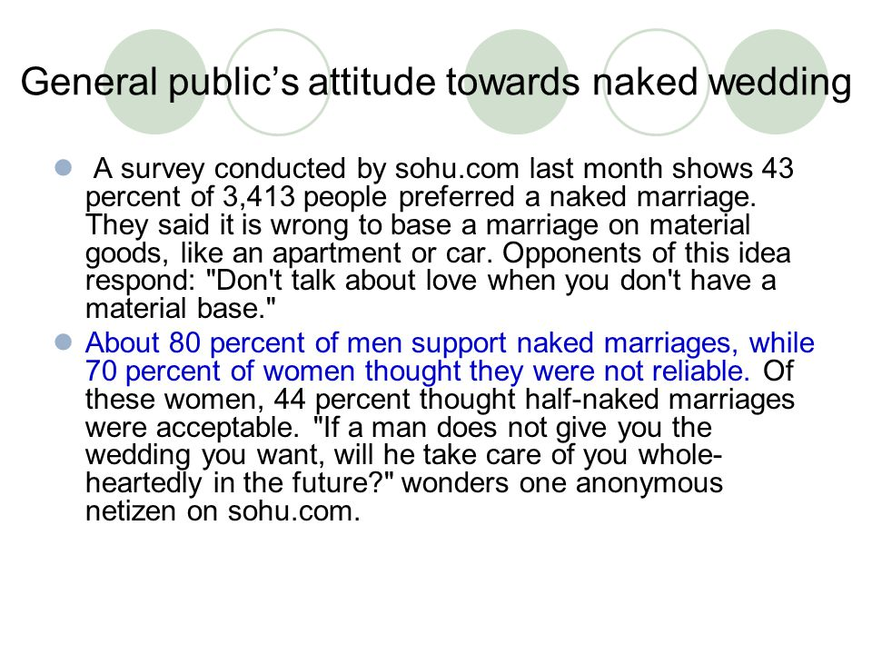 General public's attitude towards naked wedding A survey conducted by sohu.com last month shows 43 percent of 3,413 people preferred a naked marriage.