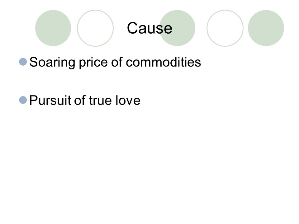 Cause Soaring price of commodities Pursuit of true love