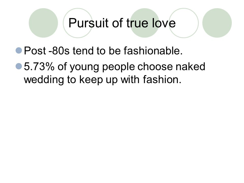 Pursuit of true love Post -80s tend to be fashionable. 5.73% of young people choose naked wedding to keep up with fashion.