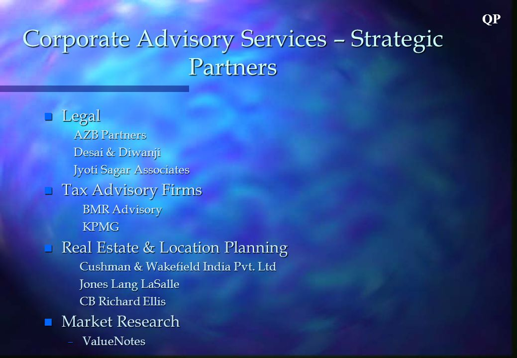 QP Corporate Advisory Services – Strategic Partners n Legal AZB Partners AZB Partners Desai & Diwanji Desai & Diwanji Jyoti Sagar Associates Jyoti Sagar Associates n Tax Advisory Firms BMR Advisory BMR Advisory KPMG KPMG n Real Estate & Location Planning Cushman & Wakefield India Pvt.