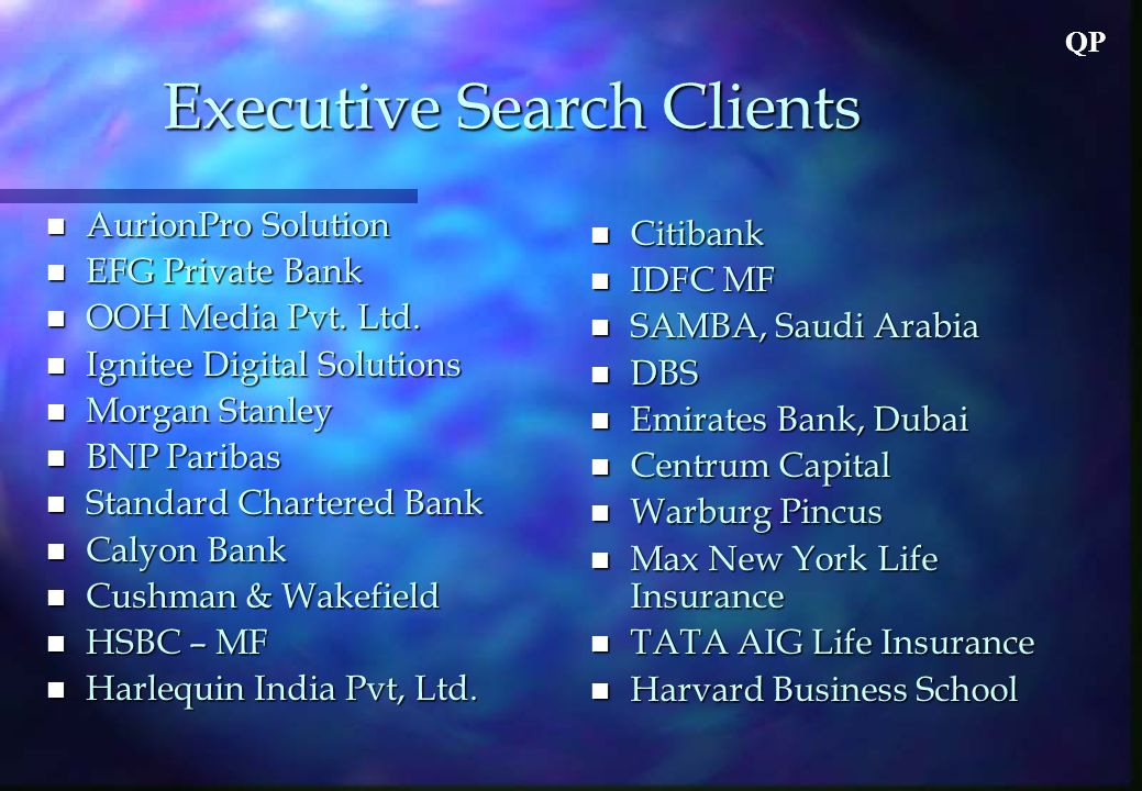 QP Executive Search Clients n AurionPro Solution n EFG Private Bank n OOH Media Pvt.