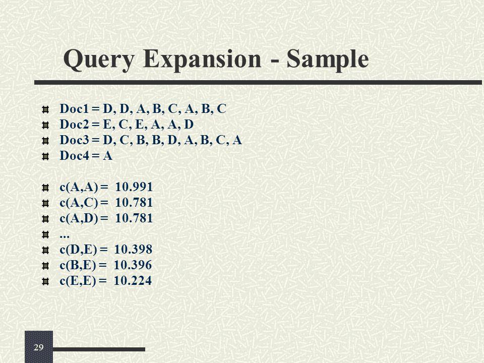 Query Expansion - Sample Doc1 = D, D, A, B, C, A, B, C Doc2 = E, C, E, A, A, D Doc3 = D, C, B, B, D, A, B, C, A Doc4 = A c(A,A) = 10.991 c(A,C) = 10.781 c(A,D) = 10.781...
