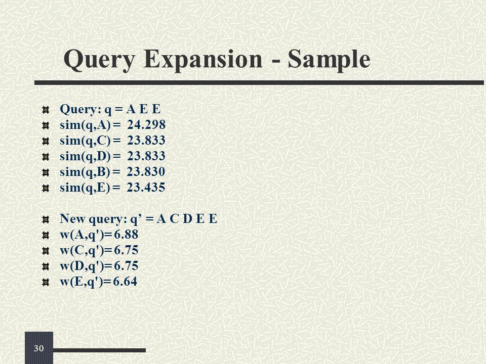 Query Expansion - Sample Query: q = A E E sim(q,A) = 24.298 sim(q,C) = 23.833 sim(q,D) = 23.833 sim(q,B) = 23.830 sim(q,E) = 23.435 New query: q' = A C D E E w(A,q )= 6.88 w(C,q )= 6.75 w(D,q )= 6.75 w(E,q )= 6.64 30