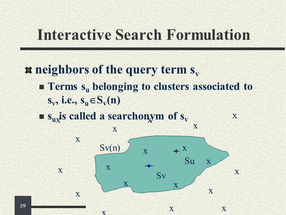 Interactive Search Formulation neighbors of the query term s v Terms s u belonging to clusters associated to s v, i.e., s u  S v (n) s u is called a searchonym of s v x Su Sv Sv(n) x x x x x x x x x x x x x x x x x x x 39