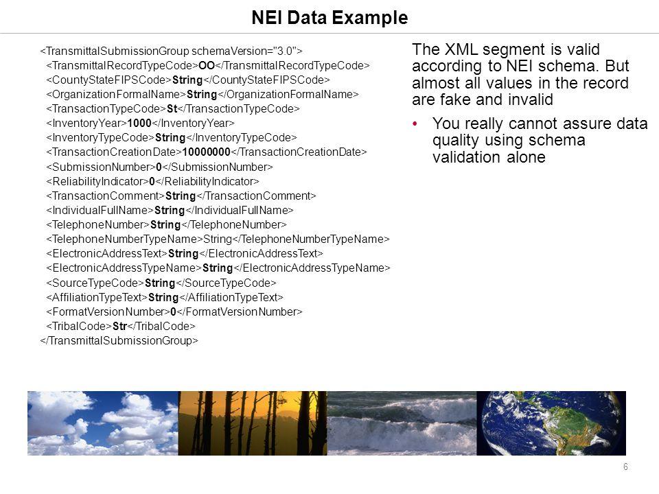 6 NEI Data Example The XML segment is valid according to NEI schema.