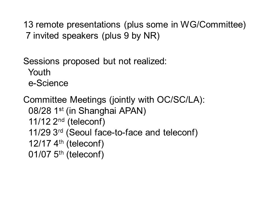 13 remote presentations (plus some in WG/Committee) 7 invited speakers (plus 9 by NR) Sessions proposed but not realized: Youth e-Science Committee Meetings (jointly with OC/SC/LA): 08/28 1 st (in Shanghai APAN) 11/12 2 nd (teleconf) 11/29 3 rd (Seoul face-to-face and teleconf) 12/17 4 th (teleconf) 01/07 5 th (teleconf)