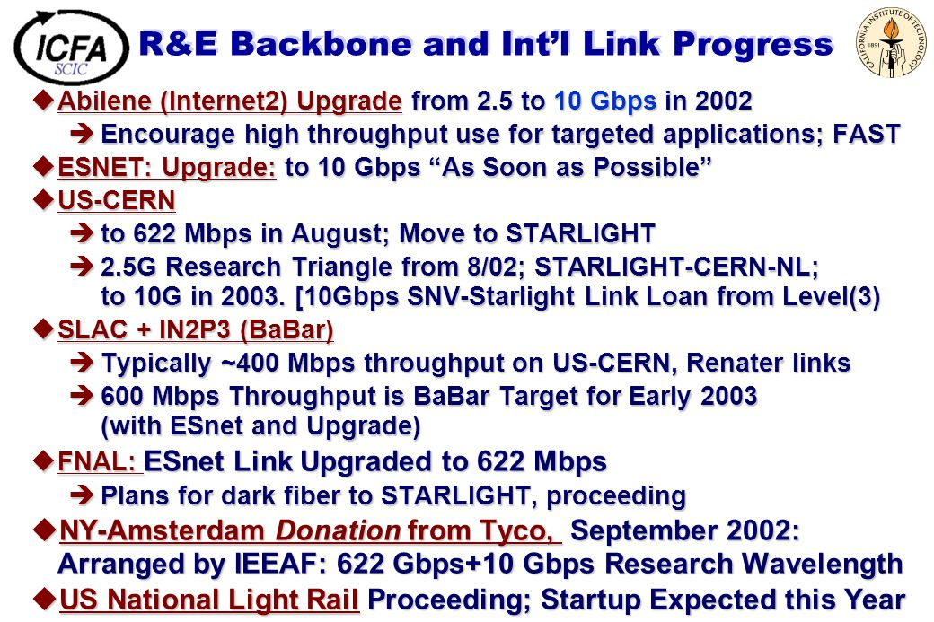 R&E Backbone and Int'l Link Progress uAbilene (Internet2) Upgrade from 2.5 to 10 Gbps in 2002 èEncourage high throughput use for targeted applications; FAST uESNET: Upgrade: to 10 Gbps As Soon as Possible uUS-CERN èto 622 Mbps in August; Move to STARLIGHT è2.5G Research Triangle from 8/02; STARLIGHT-CERN-NL; to 10G in 2003.